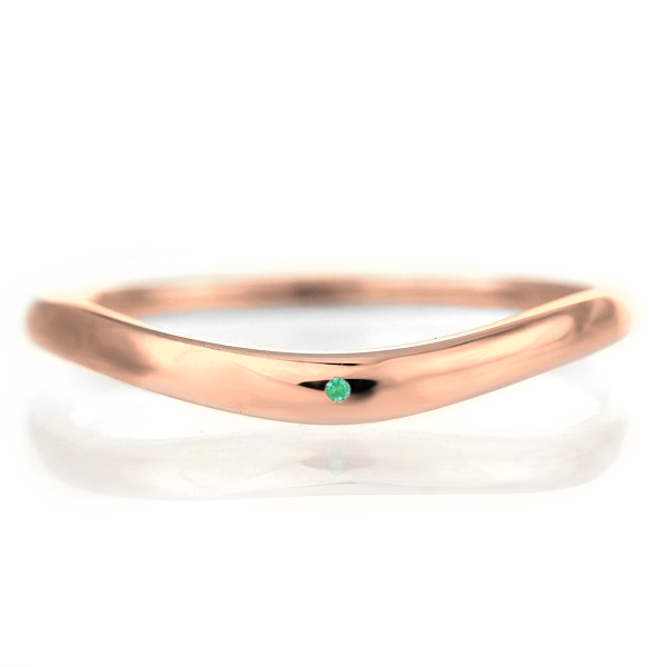 結婚指輪 マリッジリング 18金 ピンクゴールド 甲丸 V字 天然石 エメラルド