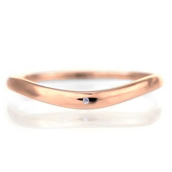 結婚指輪 マリッジリング 18金 ピンクゴールド 甲丸 V字 天然石 タンザナイト