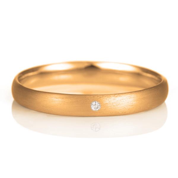 つや消し マット 天然石 結婚指輪 甲丸 マリッジリング ピンクゴールド ダイヤモンド 18金