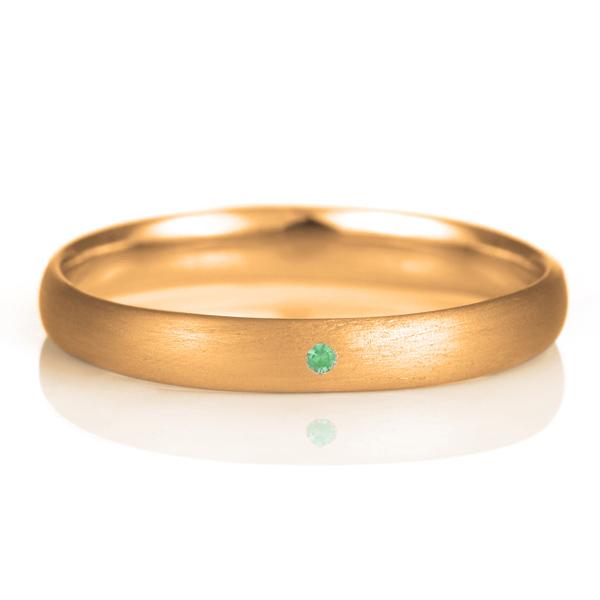 結婚指輪 マリッジリング 18金 ピンクゴールド つや消し マット 甲丸 天然石 エメラルド