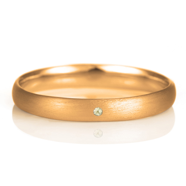 結婚指輪 マリッジリング 18金 ピンクゴールド つや消し マット 甲丸 天然石 ペリドット