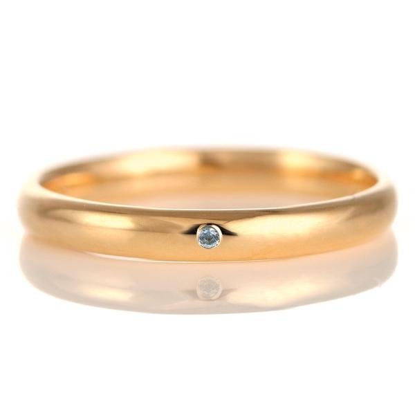 結婚指輪 マリッジリング 18金 ピンクゴールド 甲丸 天然石 ブルートパーズ