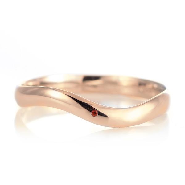 結婚指輪 マリッジリング 18金 ピンクゴールド 甲丸 ウエーブ 天然石 ガーネット