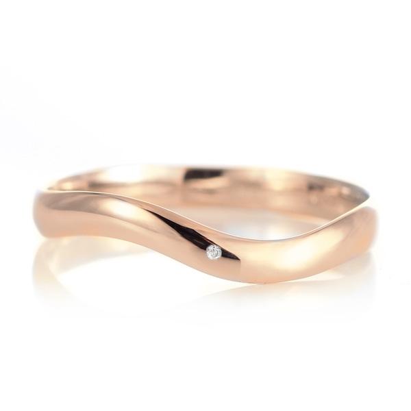 結婚指輪 マリッジリング 18金 ピンクゴールド 甲丸 ウエーブ 天然石 ダイヤモンド
