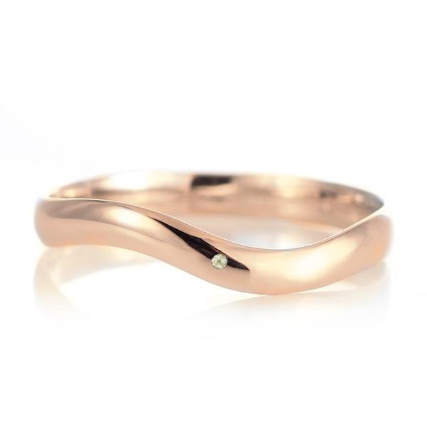 結婚指輪 マリッジリング 18金 ピンクゴールド 甲丸 ウエーブ 天然石 ペリドット