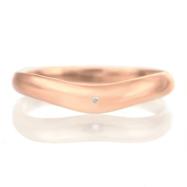 結婚指輪 マリッジリング 18金 ピンクゴールド つや消し マット 甲丸 V字 天然石 ムーンストーン