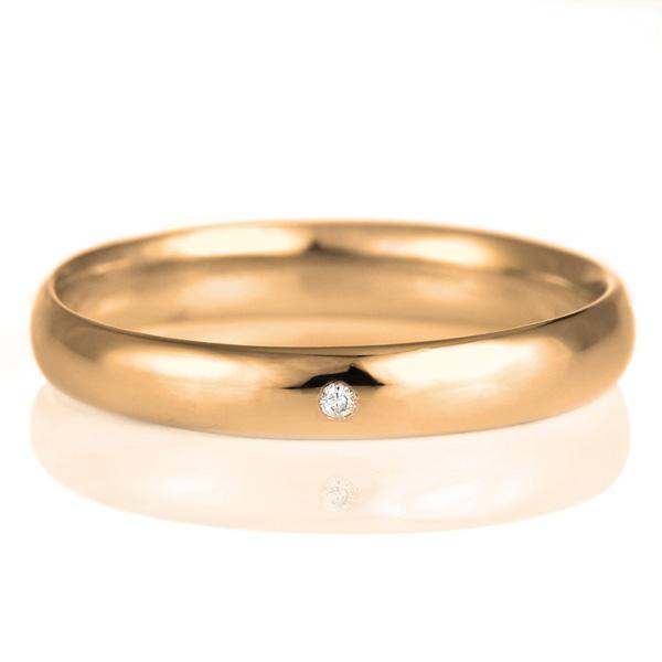 ペアリング 18金 ピンクゴールド 甲丸 天然石 ダイヤモンド