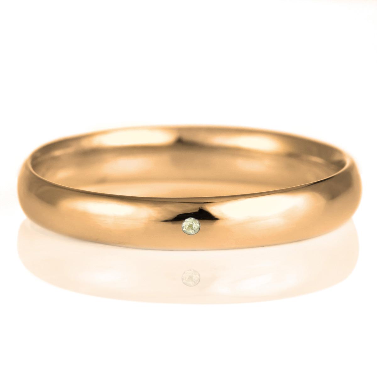 結婚指輪 マリッジリング 18金 ピンクゴールド 甲丸 天然石 ペリドット 末広 スーパーSALE【今だけ代引手数料無料】