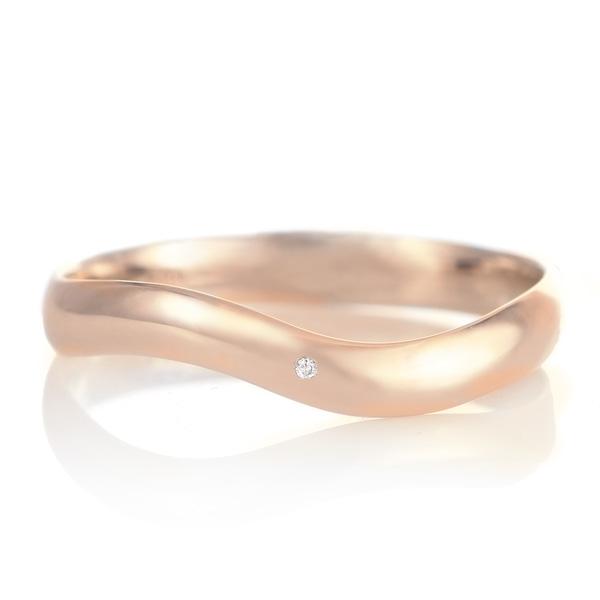 結婚指輪 マリッジリング 18金 ピンクゴールド つや消し マット 甲丸 ウエーブ 天然石 ダイヤモンド