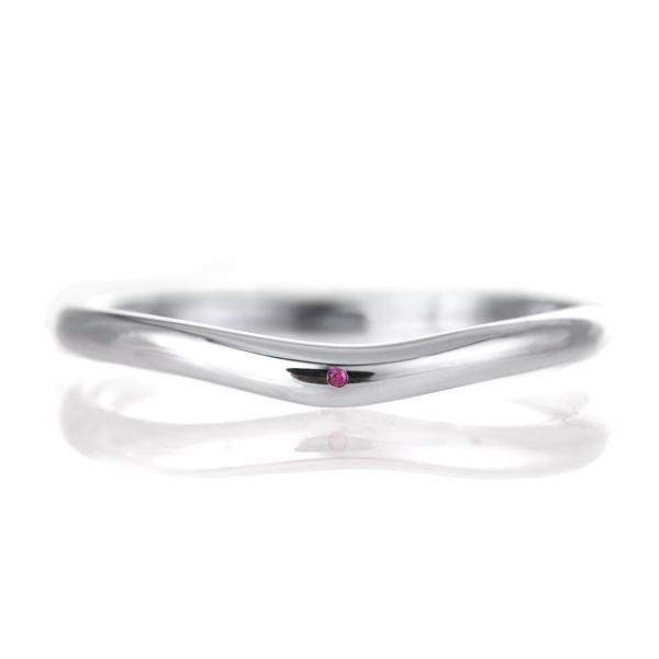 結婚指輪 マリッジリング プラチナ 甲丸 V字 天然石 ルビー 末広 スーパーSALE【今だけ代引手数料無料】