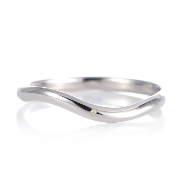 結婚指輪 マリッジリング プラチナ 甲丸 ウエーブ 天然石 ペリドット 末広 スーパーSALE【今だけ代引手数料無料】