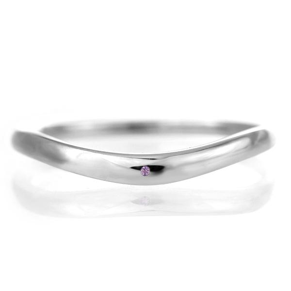 結婚指輪 マリッジリング プラチナ 甲丸 V字 天然石 アメジスト