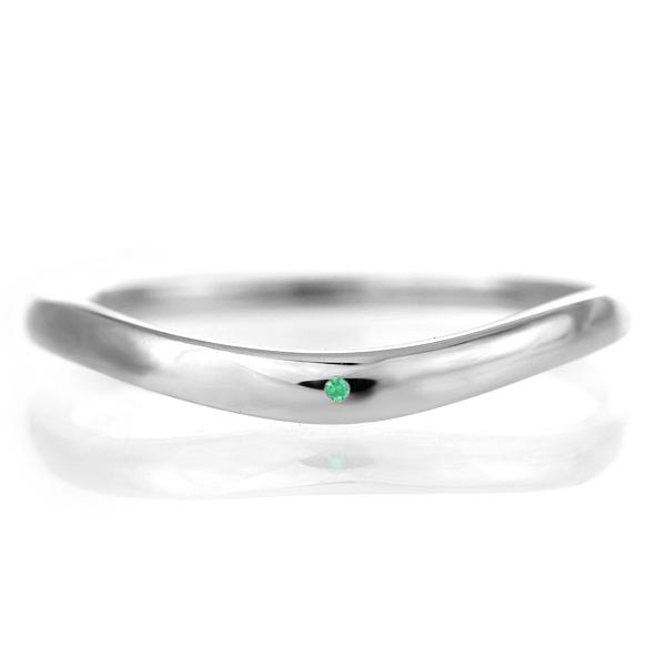 結婚指輪 マリッジリング プラチナ 甲丸 V字 天然石 エメラルド