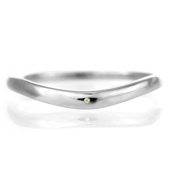 結婚指輪 マリッジリング プラチナ 甲丸 V字 天然石 ペリドット