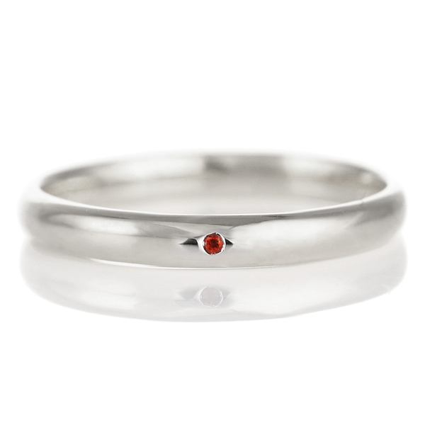 結婚指輪 マリッジリング プラチナ 甲丸 天然石 ガーネット