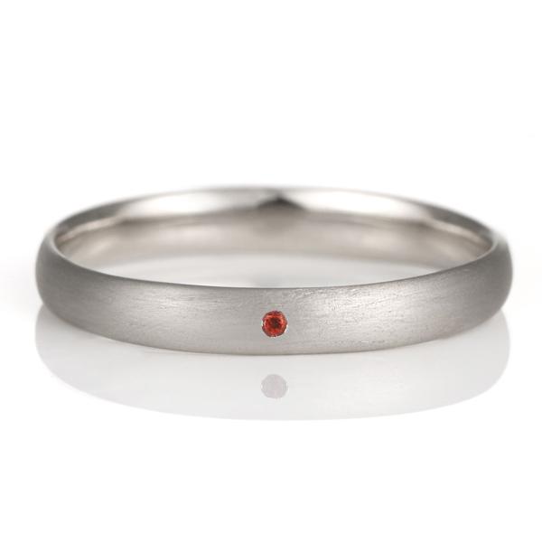 結婚指輪 マリッジリング プラチナ つや消し マット 甲丸 天然石 ガーネット