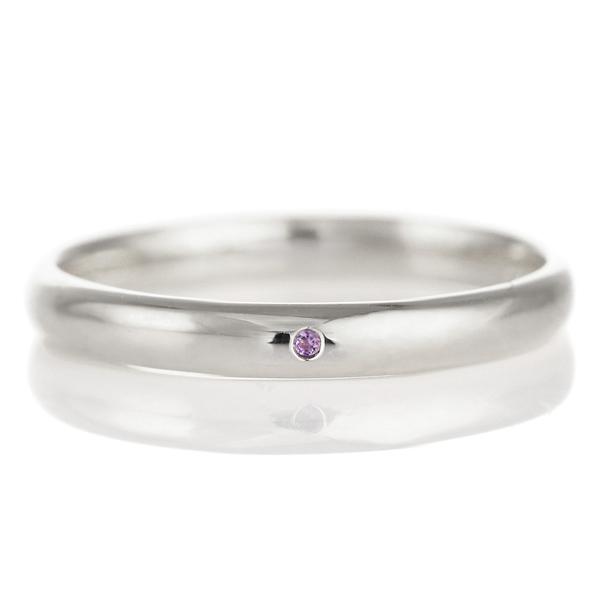 結婚指輪 マリッジリング プラチナ 甲丸 天然石 アメジスト