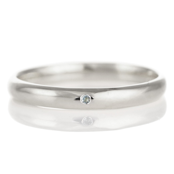 結婚指輪 マリッジリング プラチナ 甲丸 天然石 アクアマリン