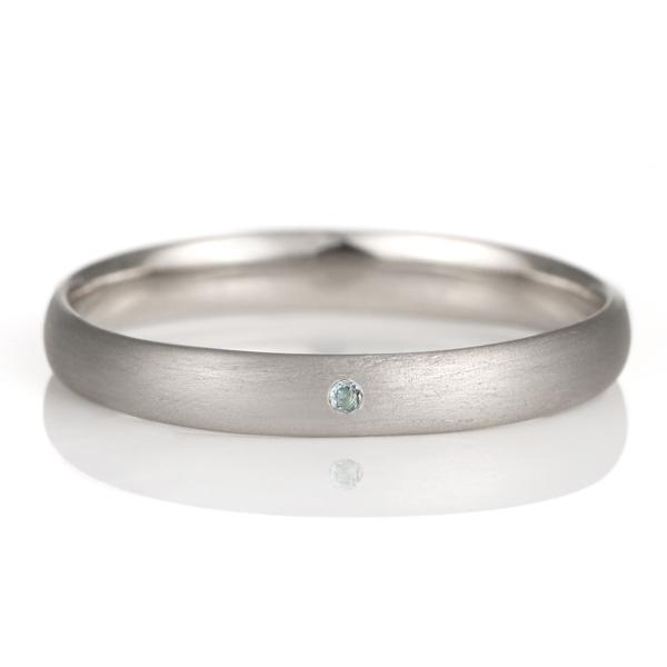 結婚指輪 マリッジリング プラチナ つや消し マット 甲丸 天然石 アクアマリン