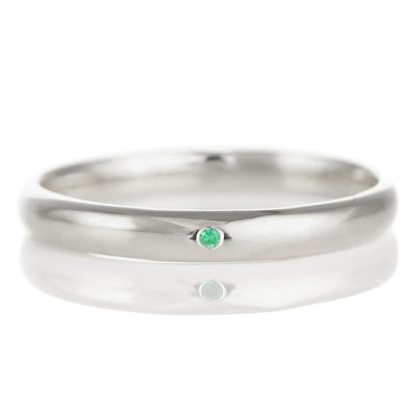 結婚指輪 マリッジリング プラチナ 甲丸 天然石 エメラルド