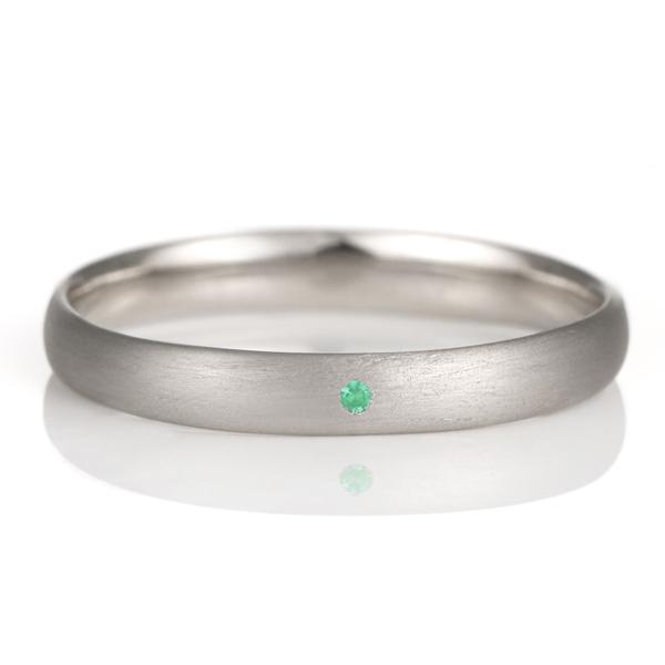 結婚指輪 マリッジリング プラチナ つや消し マット 甲丸 天然石 エメラルド