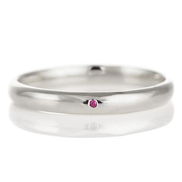 結婚指輪 マリッジリング プラチナ 甲丸 天然石 ルビー