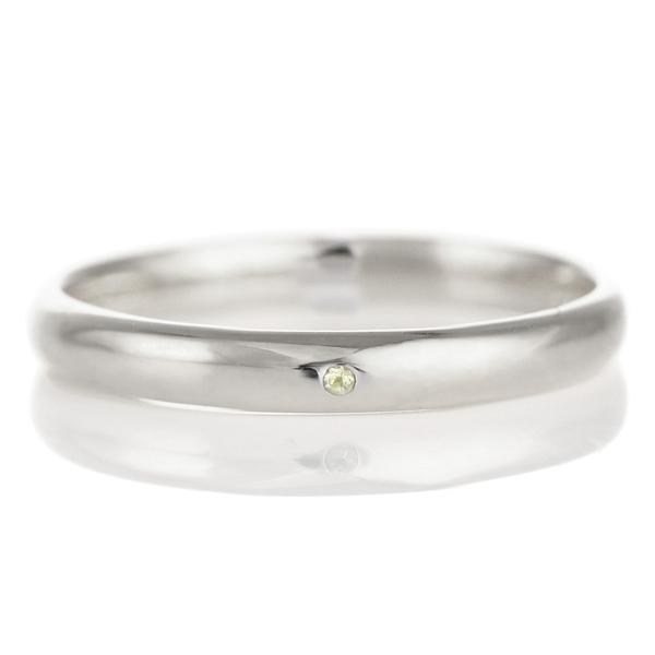 結婚指輪 マリッジリング プラチナ 甲丸 天然石 ペリドット