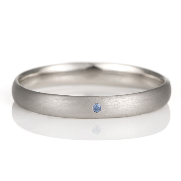 結婚指輪 マリッジリング プラチナ つや消し マット 甲丸 天然石 サファイア