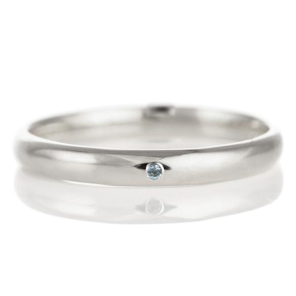 結婚指輪 マリッジリング プラチナ 甲丸 天然石 ブルートパーズ