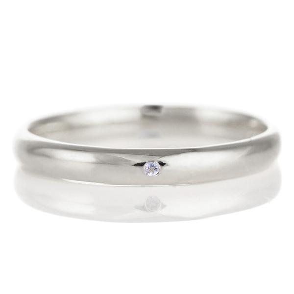 結婚指輪 マリッジリング プラチナ 甲丸 天然石 タンザナイト