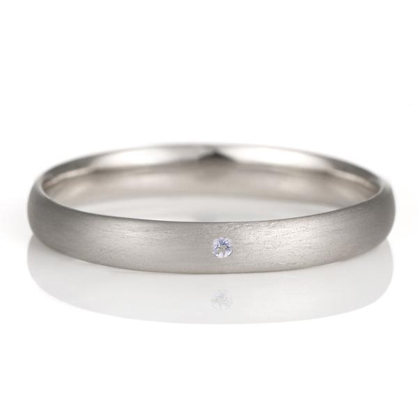 結婚指輪 マリッジリング プラチナ つや消し マット 甲丸 天然石 タンザナイト