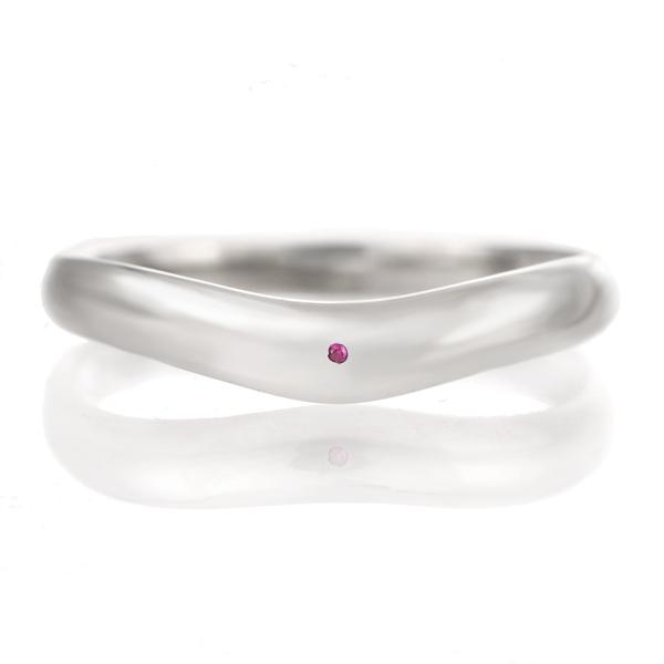 結婚指輪 マリッジリング プラチナ つや消し マット 甲丸 V字 天然石 ルビー