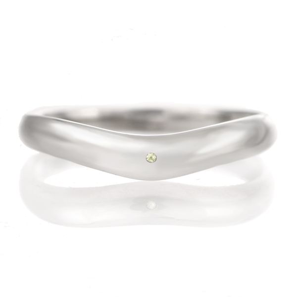 結婚指輪 マリッジリング プラチナ つや消し マット 甲丸 V字 天然石 ペリドット