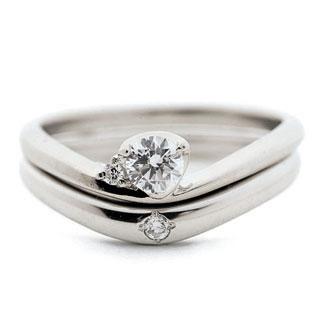 ( Brand Jewelry fresco ) プラチナ ダイヤモンドリング(婚約指輪・結婚指輪)エンゲージ マリッジ セット 3本 末広 スーパーSALE