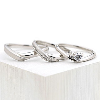 ( Brand Jewelry fresco ) プラチナ ダイヤモンドリング(婚約指輪・結婚指輪)エンゲージ マリッジ セット 3本 末広 スーパーSALE【今だけ代引手数料無料】