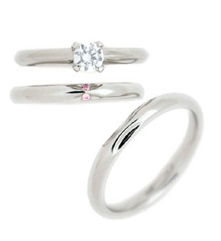 ( Brand Jewelry fresco ) プラチナ ダイヤモンドリング(婚約指輪・結婚指輪)エンゲージ マリッジ セット 3本