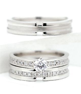 婚約指輪 ( Brand Jewelry fresco ) プラチナ ダイヤモンドリング(婚約指輪・結婚指輪)エンゲージ マリッジ セット 3本 【DEAL】 末広 スーパーSALE
