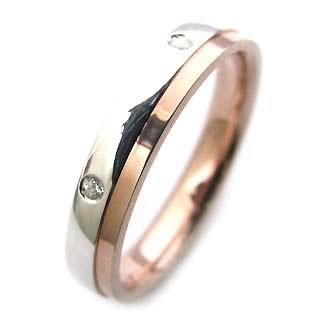 ( Brand Jewelry Angerosa ) Pt・K18PGダイヤモンドペアリング