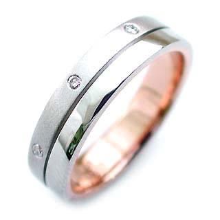ペアリング ( Brand Jewelry ニナリッチ ) Pt ・K18ピンクゴールドダイヤモンド(特注サイズ)