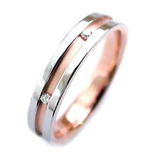 メンズリング ( Brand Jewelry ニナリッチ ) Pt ・K18ピンクゴールドダイヤモンドペアリング(特注サイズ)