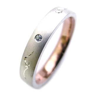 ( Brand Jewelry Angerosa ) Pt・K18PGダイヤモンドペアリング(特注サイズ)