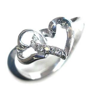 ( Brand Jewelry me. ) K18ホワイトゴールドダイヤモンドピンキーリング(ハートモチーフ) 【DEAL】