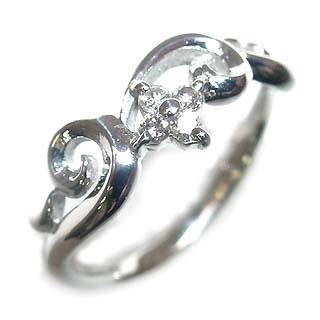 ( Brand Jewelry me. ) K18ホワイトゴールドダイヤモンドピンキーリング(フラワーモチーフ) 【DEAL】