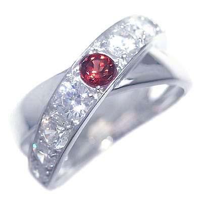 ガーネット ( 1月誕生石 ) K18ホワイトゴールドガーネット・ダイヤモンドリング 末広 スーパーSALE