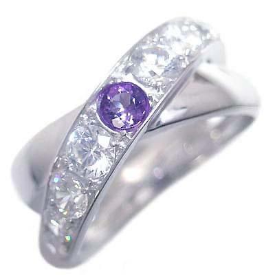 アメジスト ( 2月誕生石 ) K18ホワイトゴールドアメジスト・ダイヤモンドリング