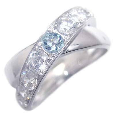 アクアマリン ( 3月誕生石 ) K18ホワイトゴールドアクアマリン・ダイヤモンドリング