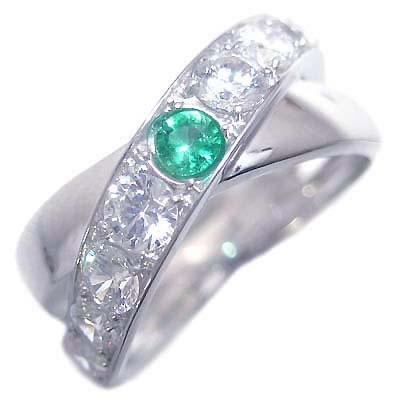エメラルド 5月誕生石 K18ホワイトゴールドエメラルド・ダイヤモンドリング
