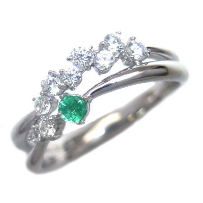 ダイヤモンド 5月誕生石 K18ホワイトゴールド エメラルド ダイヤモンド リング 末広 スーパーSALE