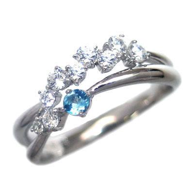 品質一番の ダイヤモンド 11月誕生石 K18ホワイトゴールド ブルートパーズ ダイヤモンド リング【】 末広 母の日【今だけ手数料無料】, 伊香郡 7308ff7b