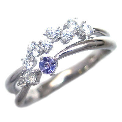 ダイヤモンド 12月誕生石 K18ホワイトゴールド タンザナイト ダイヤモンド リング 末広 スーパーSALE【今だけ代引手数料無料】
